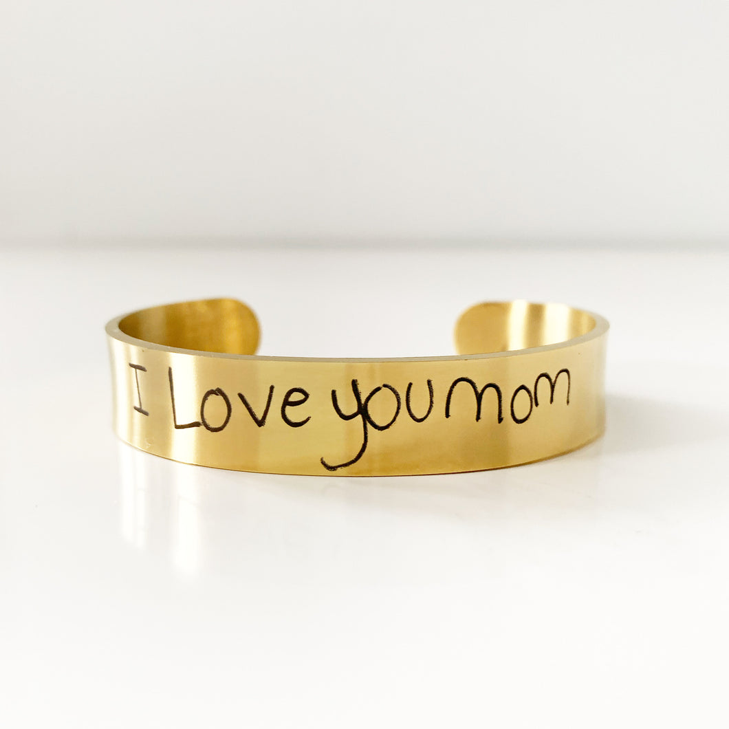 Custom Handwriting Cuff In Gold