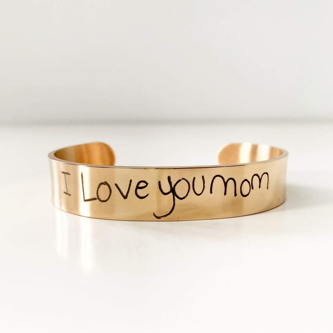 Custom Handwriting Cuff In Rose Gold