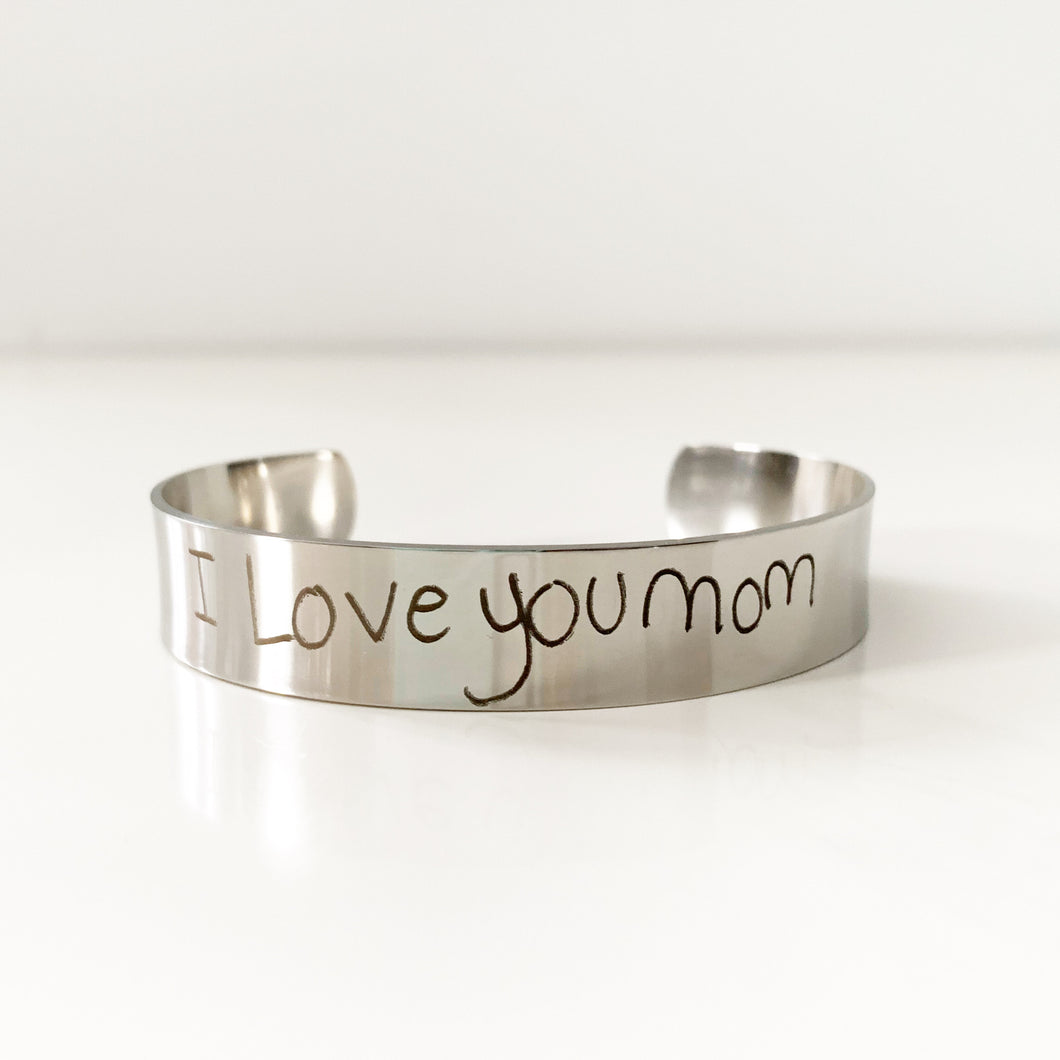 Custom Handwriting Cuff In Stainless Steel