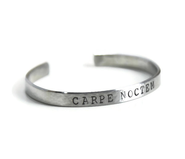 carpe noctem, latin jewelry, latin quotes, hand stamped jewelry, clair ashley