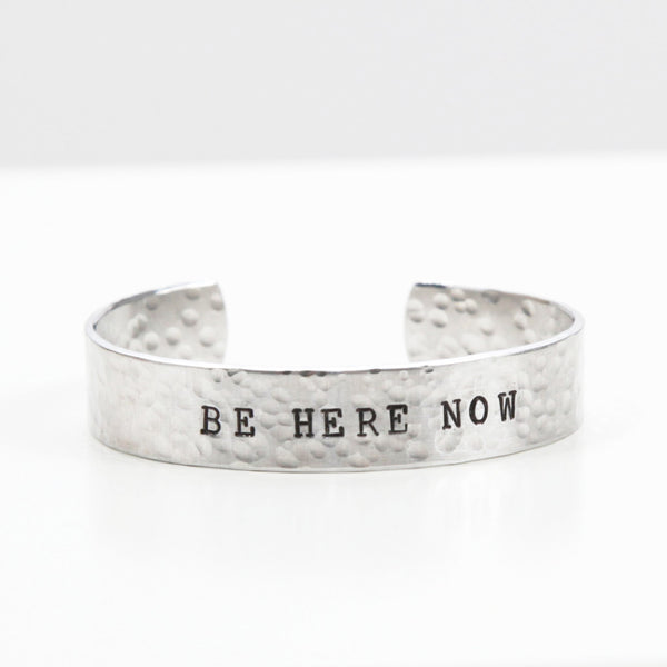be here now, be here now jewelry, cuff bracelet, bracelet cuff, hand stamped jewelry, made in canada, hand stamped bracelet, Boho Jewelry, clair ashley