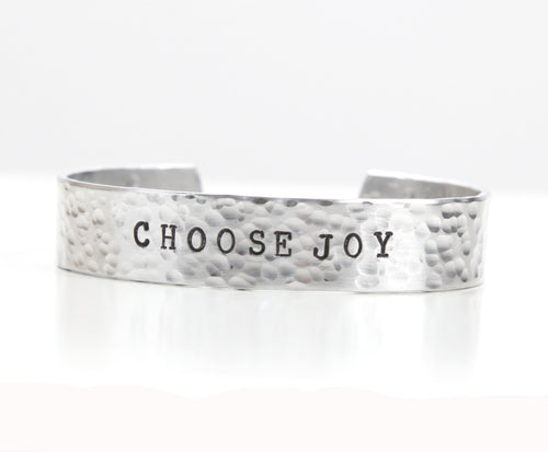 choose joy cuff bracelet, clair ashley, clair ashley jewelry, made in canada, inspirational quotes