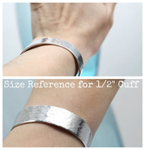 "Load image into Gallery viewer, Design Your Own Hand Stamped 1/2"" Aluminum Cuff"
