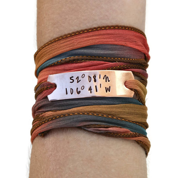copper coordinate bracelet, wrap bracelet, clair ashley, custom coordinates