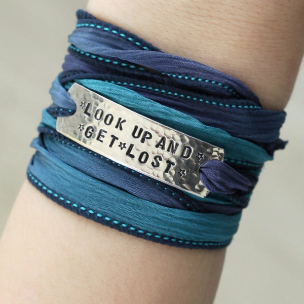 look up and get lost wrap bracelet, inspirational quotes, nature quotes, nature jewelry, hand stamped jewelry, clair ashley, star jewelry