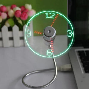 Mini LED USB Clock Fan