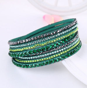 Leather and Crystal Wrap Bracelet
