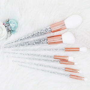 7 Piece Crystal Makeup Brush Set