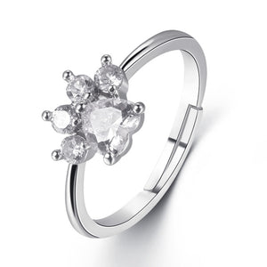 Crystal Paw Print Resizable Ring