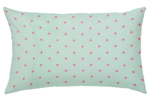 'Green and Pink Dots' Organic Junior Pillow Cover