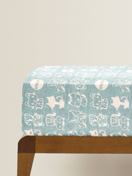 'Blue Cats' Organic Single Fitted Sheet