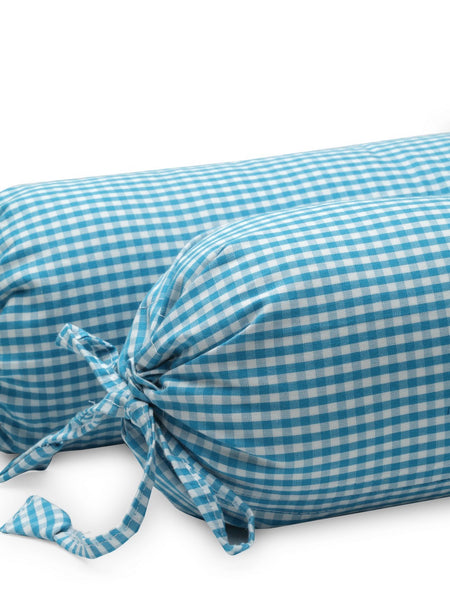 'Blue Checks' Organic Baby Bolster Cover