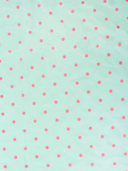 'Green and Pink Dots' Organic Queen Fitted Sheet
