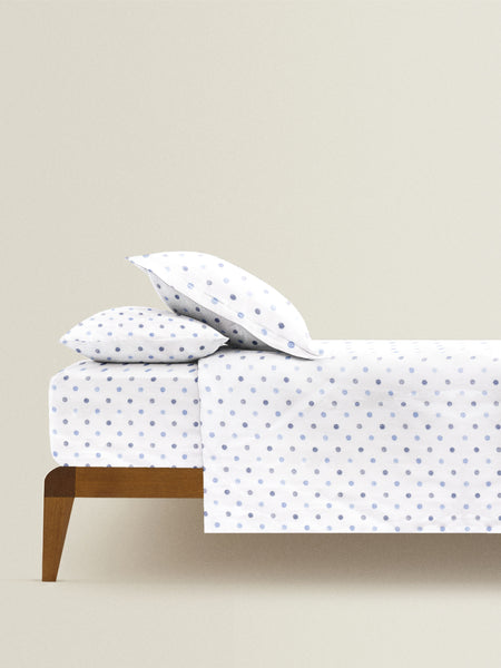 'Shaded Blue Dots' Organic Queen Fitted Sheet