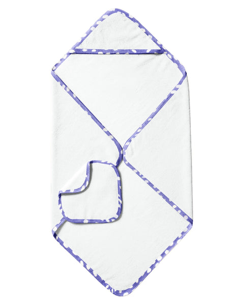 'Purple and White Spots' Organic Hooded Towel Set