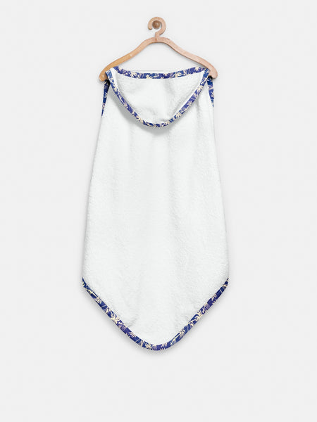 'Floral Blue' Organic Hooded Towel Set