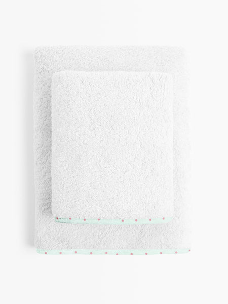 'Green and Pink Dot' Organic Junior Towel Set