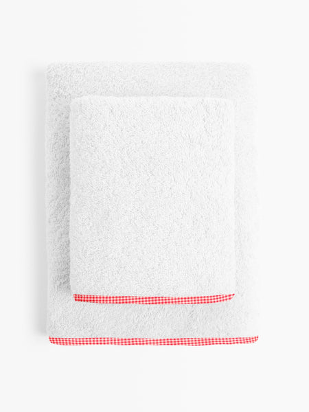 'Red Checks' Organic Junior Towel Set
