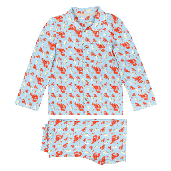 'Red Crab' Organic Collared Pajama Set