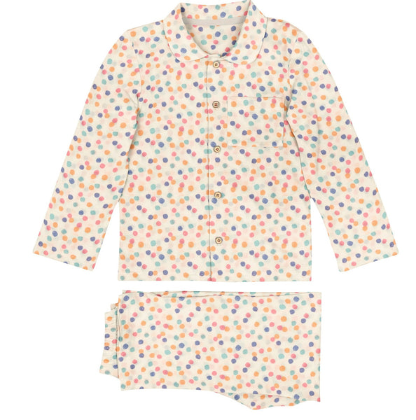 'Multi Dot' Organic Collared Pajama Set