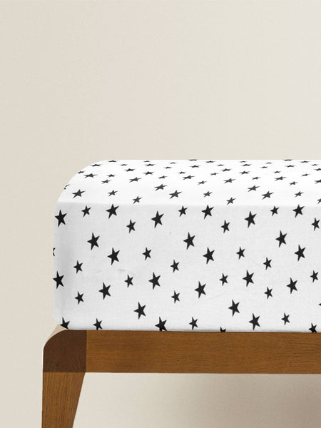 'Black Star' Organic Fitted Crib Sheet