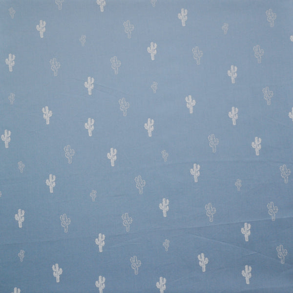 'Blue Cactus' Organic Fitted Crib Sheet