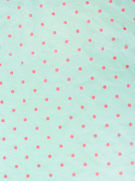 'Green and Pink Dots' Organic Single Fitted Sheet