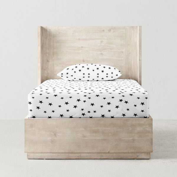 'Black Star' Organic Single Fitted Sheet