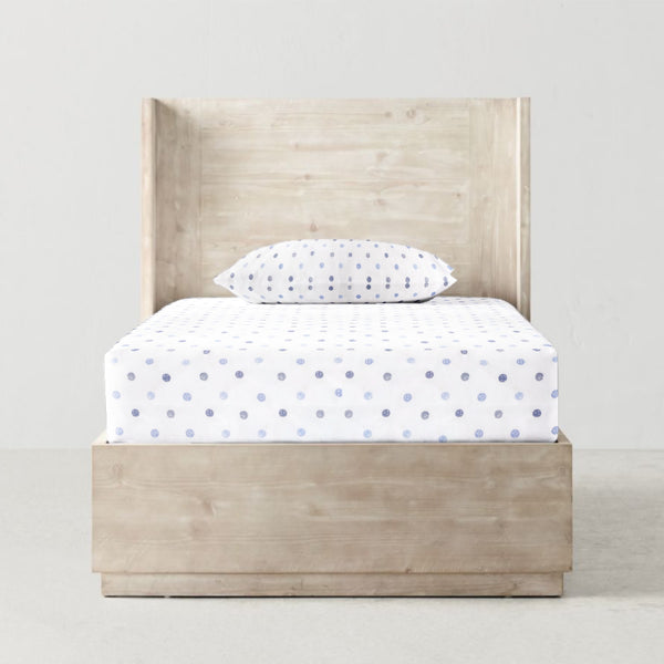 'Shaded Blue Dots' Organic Single Fitted Sheet