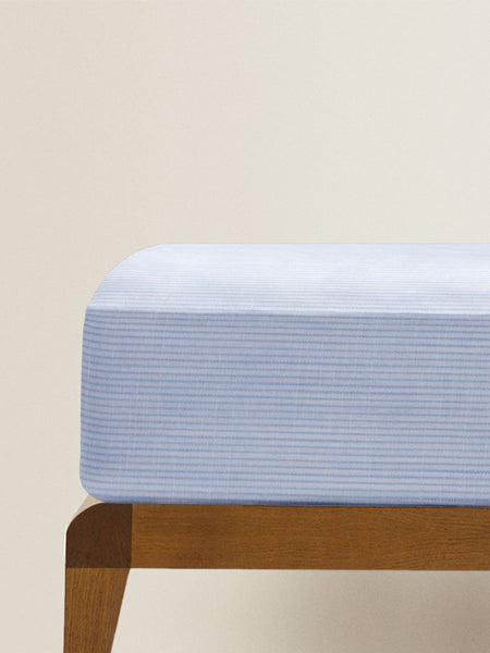 'Blue and White Stripe' Organic Single Fitted Sheet