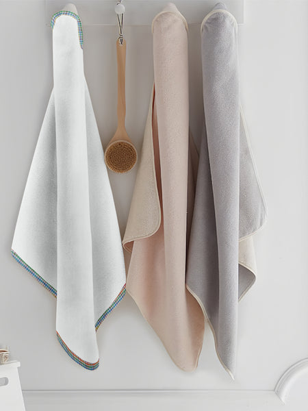 'Multichecks' Organic Hooded Towel Set