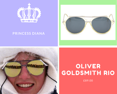 Princess Diana wearing Rio by Oliver Goldsmith vintage sunglasses