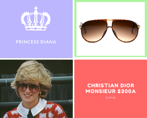 Princess Diana at the Guards Polo Club, wearing famous sheep jumper, peter pan collar and oversized vintage sunglasses.