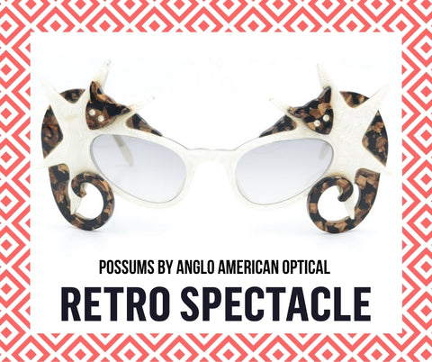 Anglo American Optical Possums. Dame Edna Everage glasses.