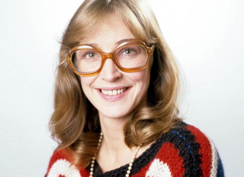 Young Deirdre Barlow in the 1970's wearing vintage oversized glasses