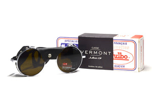 Julbo Vermont Glacier Classic Chrome Black Alpine Glasses, Mountaineering Glasses, Leather Side Shields