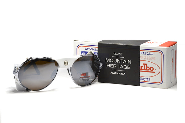 Julbo Cham Glacier Classic Chrome white Alpine Glasses, Mountaineering Glasses, Leather Side Shields