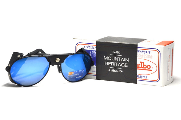 Julbo Cham Glacier Classic Matte Black Alpine Glasses, Mountaineering Glasses, Leather Side Shields