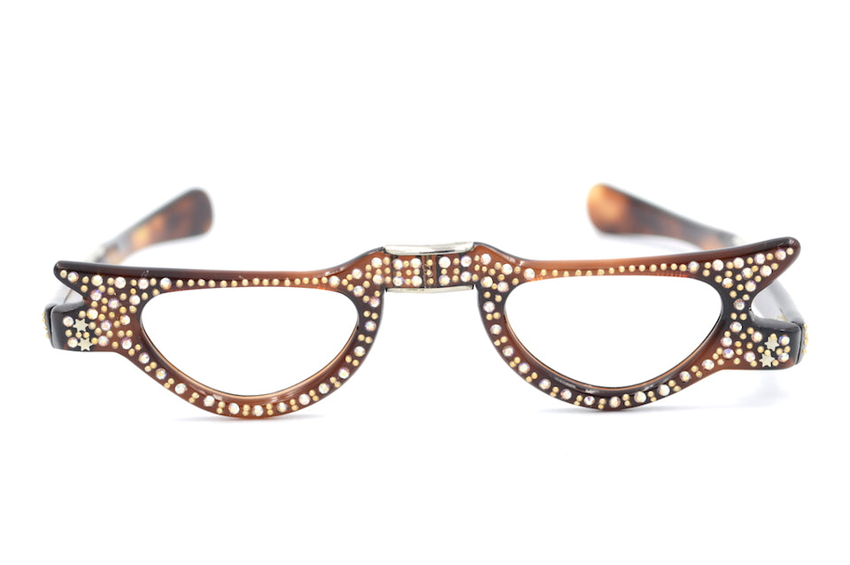 Vintage cat eye glasses, vintage diamanté glasses, vintage fold up glasses, fold up glasses, fold up reading glasses, 1950s fold up glasses