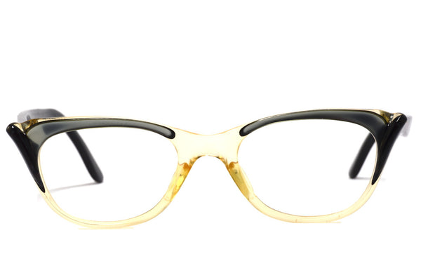 Front view silver and black ladies 1950's vintage cat eye glasses