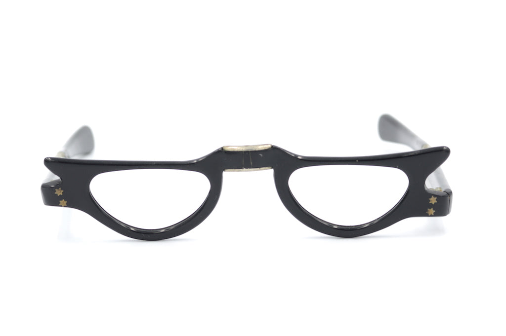 Black Cat Eye Fold Up Glasses Blk