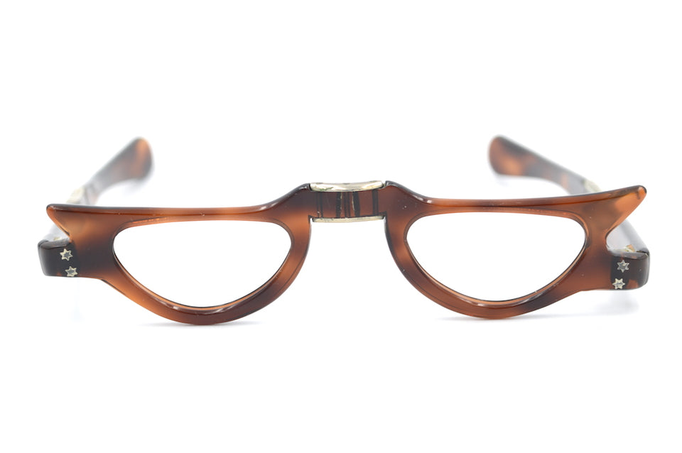 fold up glasses, vintage fold up glasses, fold up reading glasses, vintage cat eye glasses, brown cat eye glasses, 1950s vintage glasses