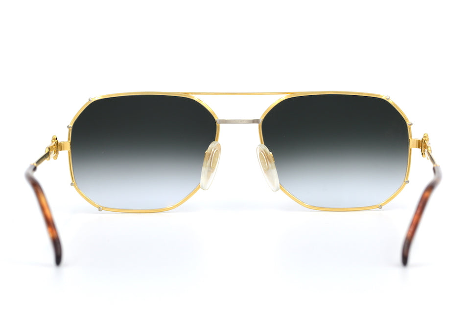 Gerald Genta Gold and Gold 01 Vintage Sunglasses as seen on Mist in So High video. Rare Vintage Sunglasses. Gold Mirrored Sunglasses.