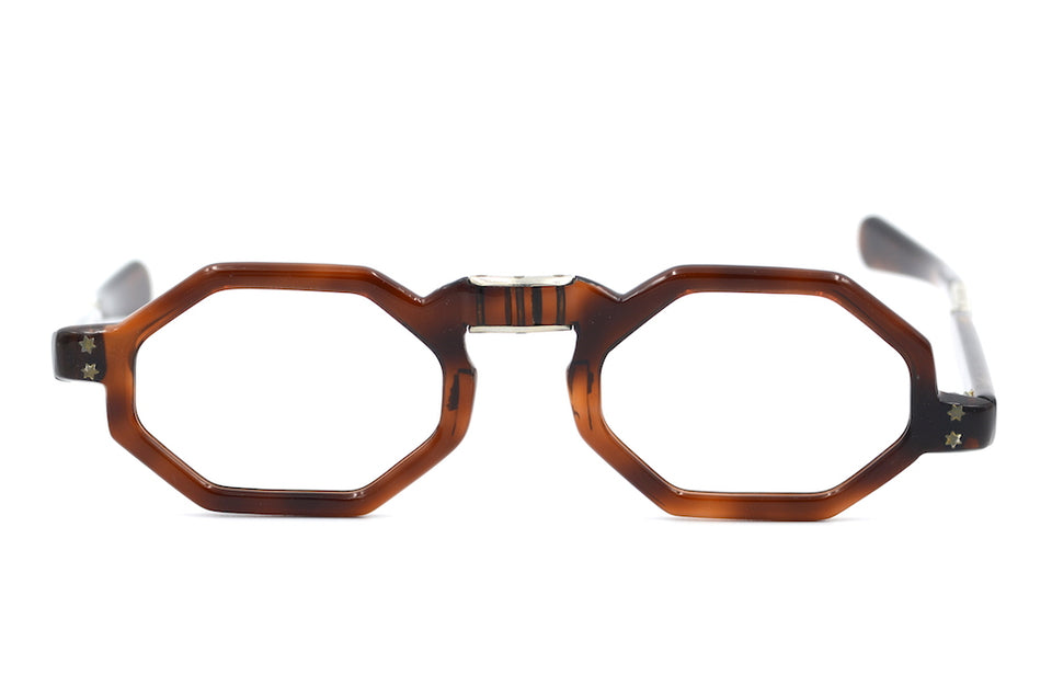 Hexagonal mens vintage fold up glasses. 1950's mens vintage glasses