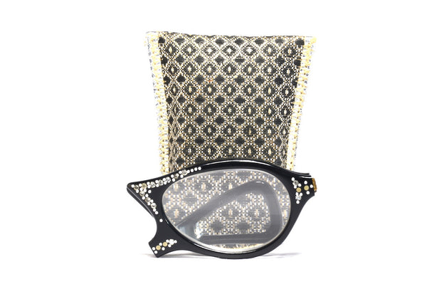 Fold up view fold up diamante vintage glasses with case
