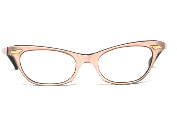 Front view of ladies baby pink vintage 1960's cat eye