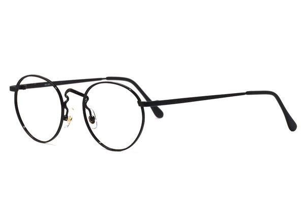 Front/side view unisex black round vintage glasses