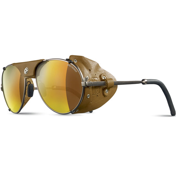 Julbo Cham Glacier Classic Brass Fawn Alpine Glasses, Mountaineering Glasses, Leather Side Shields