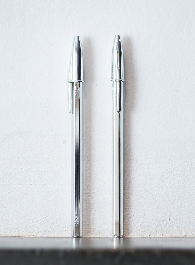 Relatively Set of 3 Limited Edition Silver BIC Cristal Ballpoint Pens  VU08