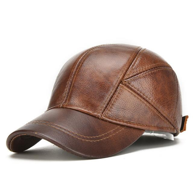 Men's Genuine Leather Baseball Caps Men